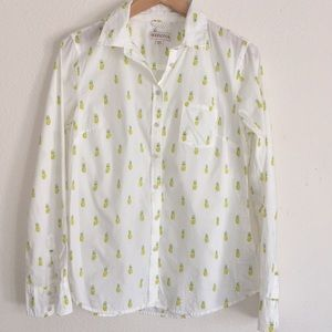 Merona Pineapple White Button Down Shirt - Small